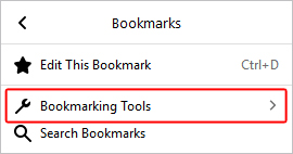 The bookmarking selector in Firefox.