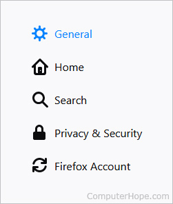 General settings selector in Firefox.