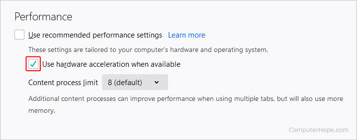 Checkbox to toggle hardware acceleration on and off.