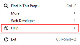 The button to open the help menu in Firefox.