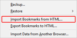 The selector to export bookmarks in Firefox.