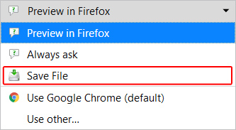 Save File option in Firefox.