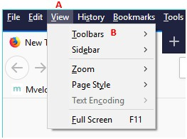 How to display the File, Edit, View menu in Firefox