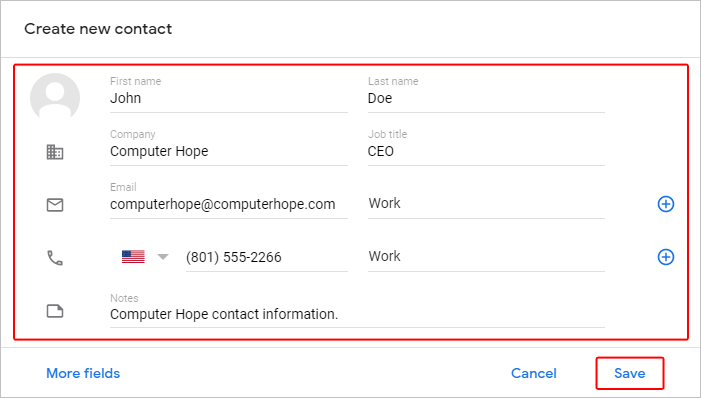 Gmail new contact form.