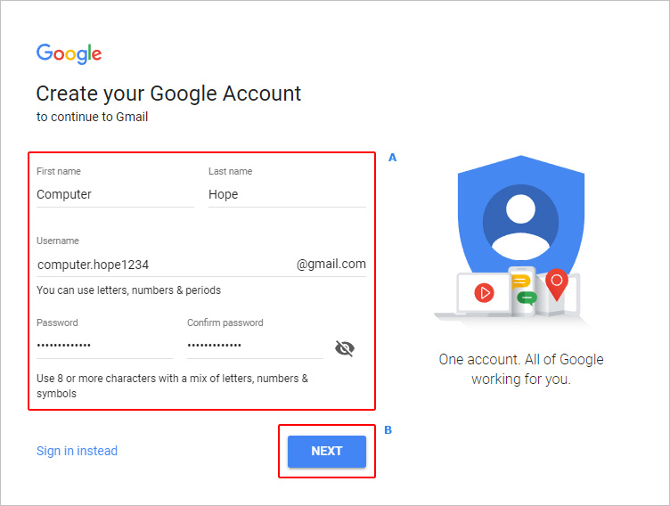 The account creation screen in Gmail.