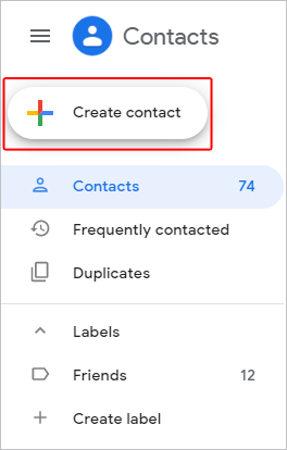 Create contacts button in Gmail