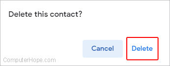 Gmail delete contact