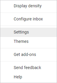 Settings selector in Gmail.