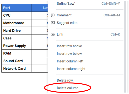 Hapus kolom di tabel Google Documents