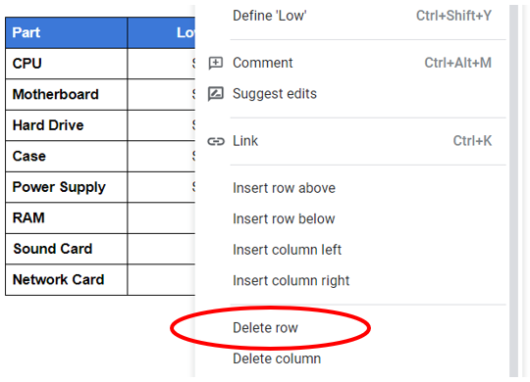 Hapus satu baris di tabel Google Documents