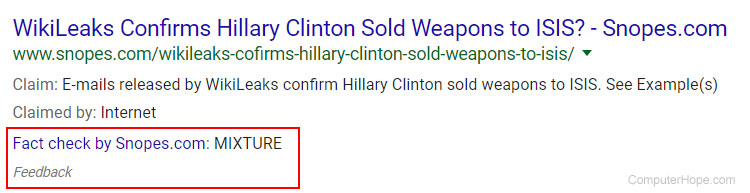 Google results with fact-check for fake news example