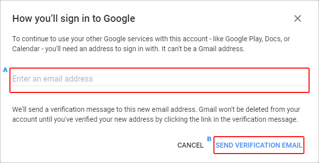 Screen in which users send a verification message to delete their Gmail account.