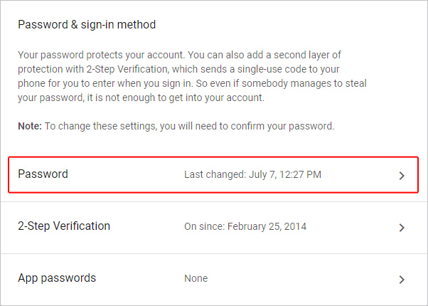 The link to change your Google password.