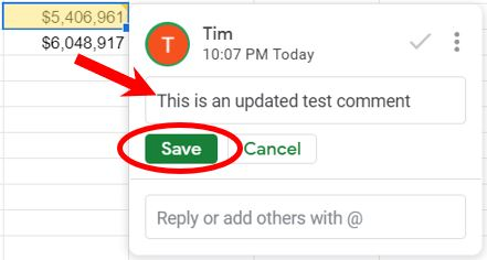 Save a modified comment in Google Sheets
