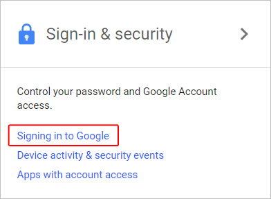 The link used to change Google sign-in settings.