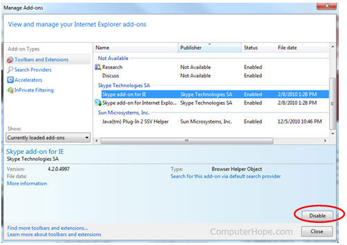 Internet Explorer add-on window