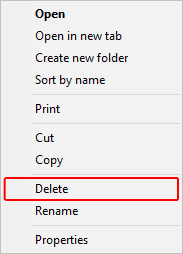 The drop-down menu that allows users to delete their bookmarks.