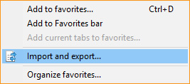 The import and export selector in Internet Explorer.
