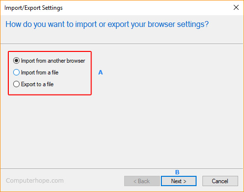 The import and export selectors in Internet Explorer.