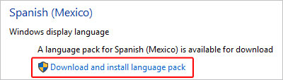 Download a language in Internet Explorer.
