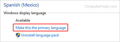 Set the primary language in Internet Explorer.