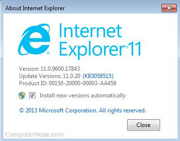 About Internet Explorer Window