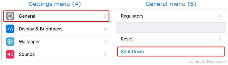 How to shut an iPhone down using menus.