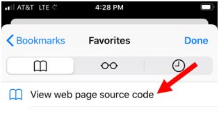 Use view source bookmark