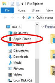 iPhone entry in File Explorer