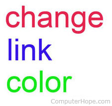 Changing link color when moving mouse over link in HTML