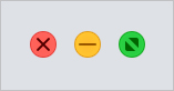 The buttons used to close, minimize, and maximize a window in macOS.
