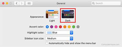 Dark Mode settings in macOS