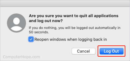 Log Out button in macOS.