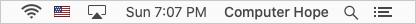 Username in the Apple menu bar.