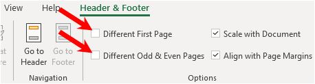 Header and footer options in Microsoft Excel