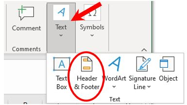 Add header or footer, in Text sub-menu, in Microsoft Excel
