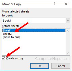 Move or Copy Excel worksheet options