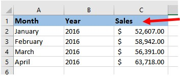 Named column header row in Microsoft Excel