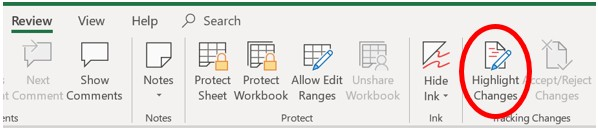 Highlight Changes option in Microsoft Excel 2019