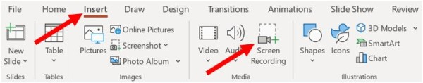 Screen Recording option in Microsoft PowerPoint