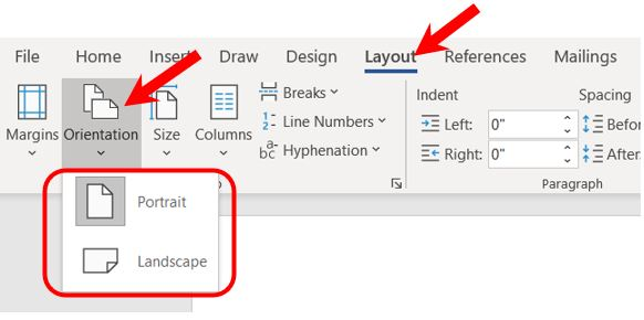 Change page orientation for entire document in Microsoft Word