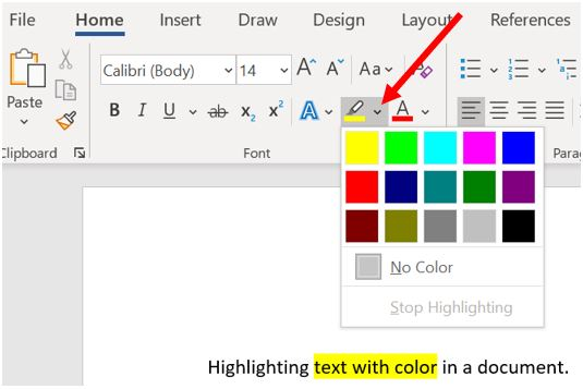 Highlighting text with color in Microsoft Word