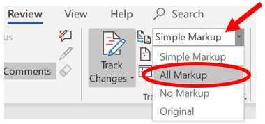 Show tracked changes in Microsoft Word