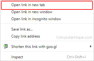 The selector used to open a link in a new tab.