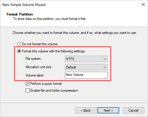 The format for a new volume in Windows.