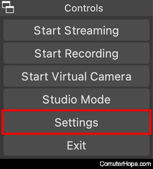 OBS Studio Controls Settings