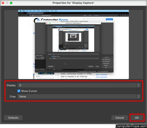 OBS Studio Display Capture settings