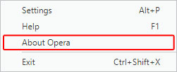 The menu item that shows information about the version of Opera.