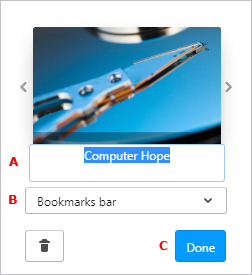 The menu that allows users to add a bookmark in Opera.