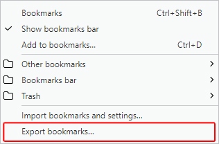 The selector for exporting bookmarks in Opera.